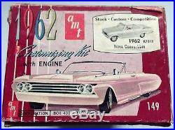 1962 Chevy Nova Convertible Model Kit, Amt, Open Box, Complete