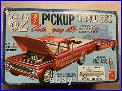 1962 Ford F100 Pickup Truck AMT 1/25 NIOB! VINTAGE RARE 3in1 custom trailer