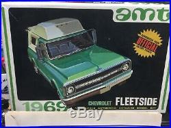 1969 Chevy Fleetside Pickup withcamper Vintage AMT Kit! LQQK Rare