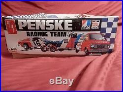 1/25 AMT AMC Matador Penske Racing Team with Tilt Trailer & Tow Van Complete FSBg
