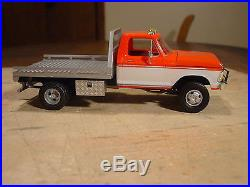 1/25 CUSTOM BUILT AMT 78 FORD F-350 DUALLY UTILITY FLATBED TRUCK TOWING RIG