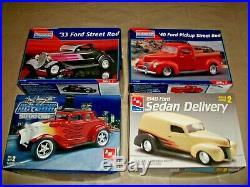 32 Ford Coupe 33 Street Rod 40 Pickup/Sedan Delivery Plastic Model Kits NIOB AMT