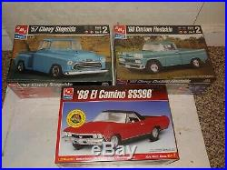 3 Vintage 90's Factory Sealed Chevy Pickup Truck Model Kits, 1957,1960,'68 Camino