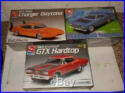 3 Vintage 90's Factory Sealed Mopar Muscle Car Model Kits, Daytona, Roadrunner, GTX
