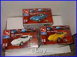 3 Vintage F/S Sealed AMT/ERTL Corvette Model Kits, 1963 Stingray, 1970 Coupe, 1975