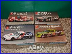 4 Vintage 1992 90s AMT ERTL Sealed NASCAR Car Model Kits, Ford Thunderbird, Lumina