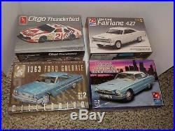 4 Vintage 90s Sealed Ford Car Model Kits, 63 Galaxie, 66 427 Fairlane, 66 T-Bird