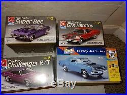 4 Vintage 90s Sealed Mopar Muscle Car Model Kits, Super Bee, GTX, Challenger R/T
