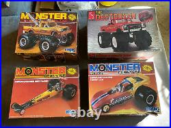 4 vintage 80s MPC and AMT monster truck, funny car model kits. Unused in box