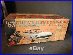 AMT'63 CHEVY II / NOVA STATION WAGON 3 in 1 Model Kit 125 Scale NIB X261 PF