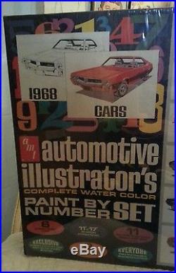 AMT AUTOMOTIVE ILLUSTRATOR'S PAINT BY NUMBER SET 1968 RARE Model Kit GTO