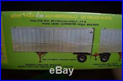 AMT Double Header 1/25 2 27' Exterior Post Trailers Model Kit New Sealed