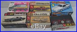 AMT & MPC 125 Scale Model Car Kits Falcon, Daytona, Thunderbird, Continental