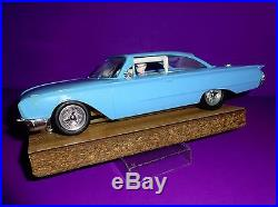 AMT / MPC 1960' Blue Ford Starliner Promo Car / Slot Car With Brass Chassis