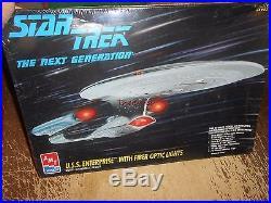 AMT Star Trek Next Generation USS Enterprise With Fiber Optics Sealed Model