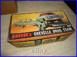 Awesome vintage AMT T360300 Chevelle Drag team unbuilt model 2 cars trailer BOX
