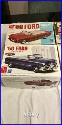 Big Lot of 4 Vintage AMT 1950 Ford convertible model kits 60's-80's Neat