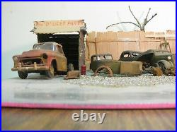 LARGE JUNKYARD DIORAMA built by a long time builder sold as is AND AS USED
