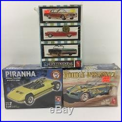 LOT 3 AMT Model Car Build Kits Double Whammy, Piranha,'65 Lincoln Continental