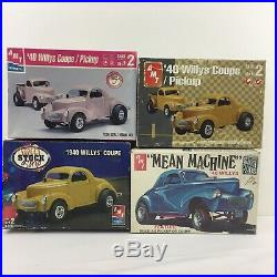 LOT 4 Model Car Building Kits AMT Mean Machine 1940 Willys Coupe Parts Bodies