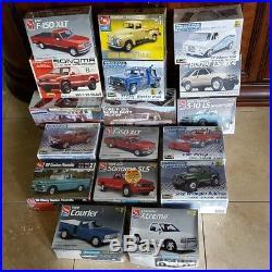 LOT of 17 Revell, AMT, Lindberg and Monogram Pickup Truck Model Kits