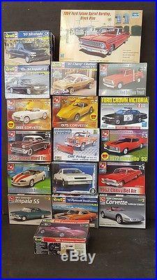 LOT of 18 Trumpeter, Revell, AMT, Lindberg Auto/Truck Model Kits
