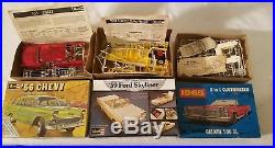 Lot 6 Vintage Toy Model Car Kits, 71 Duster, 76 Dart, Nitro Charger, AMT, MPC