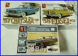 Lot Of 3 Car Model Kits 58 Edsel Pacer 57 Chrysler 300c 65 Continental New Fs