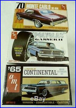 Lot Of 3 Car Model Kits 70 Monte Carlo Ss Gasser II 65 Continental New Sealed