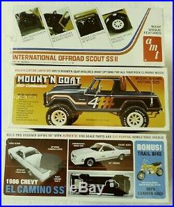 Lot Of 3 Car Model Kits El Camaino Ss Jeep Cammando Scout Ss II Factory Sealed