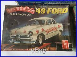 Lot Vintage Model Car AMT Tournament of Thrills Transporter 49 50 Ford Stunt Set