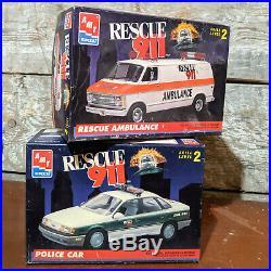 MODEL CAR KIT LOT (2 KITS) AMT ERTL RESCUE 911 Ambulance & Police Car Nice