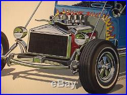 ORIGINAL! HOT ROD ART painting T-BUCKET AMT 1969 Fruitwagon model car VINTAGE