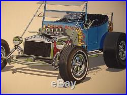 ORIGINAL! HOT ROD ART painting T-BUCKET AMT 1969 Fruitwagon model car VINTAGE