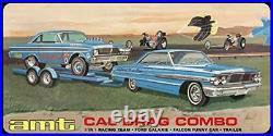 PSL AMT 1/25 CAL DRAG Combo Ford Galaxy & Falcon & Trailer Plastic Model
