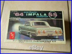 Rare Amt 1964 Chevrolet Impala Hardtop Working Headlight Version Unbuilt