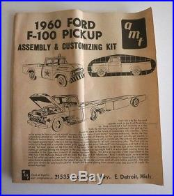 Rare Vintage AMT 3 In 1 1960 Ford F-100 Pickup Truck & Trailer Model Kit WithBox