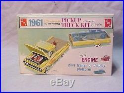 Vintage 1961 Smp Amt Chevrolet Pickup Truck Kit Unbuilt In Box Trailer Nice