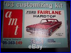 Vintage Amt 3 In 1 1963 Ford Fairlane Hard Top Model Car Kit Rare