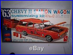 Vintage Amt 3 In 1 63 Chevy II Station Wagon Model Car Kit Rare