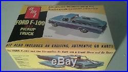 Vintage 60s amt 1963 ford f-100 pickup truck model with go cart