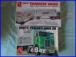 Vintage AMT 125 White-Freightliner SD and AMT 125 Tandem Vans, both open