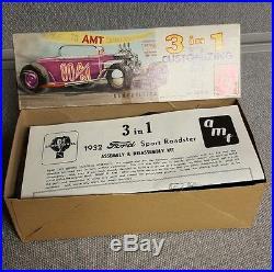Vintage AMT'32 Ford Model B Sport Roadster Model/Kit USA 332 3 in 1