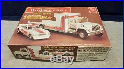 Vintage AMT Budweiser Race Team Transporter / Mustang II 125 Scale Boxed Sealed