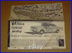 Vintage Amt 3 In 1 1964 Ford Falcon Sprint 1/25 Scale Model Car Kit Nice