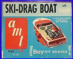 Vintage Rayson Drag Ski Race Boat with Trailer AMT 2163-149 Model Kit Excellent