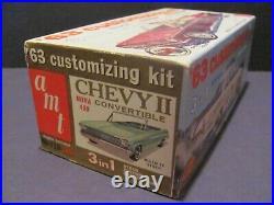 Vintage Unbuilt AMT 1963 Chevrolet Chevy II Nova Conv 1/25 Scale Model Kit Mint